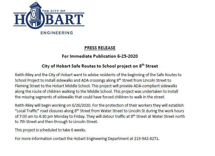 Press Release 6/25/2020 8th Street Closure